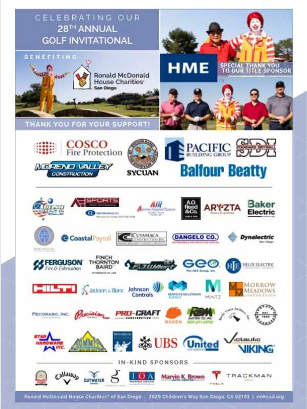 RMHC-San Diego 2019 Golf Sponsors