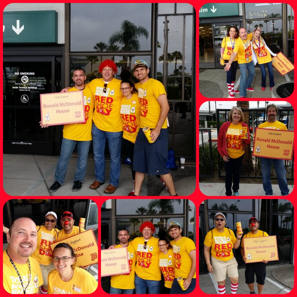 yellow shirted Red Shoe Day volunteers